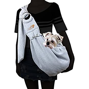 Alfie Pet by Petoga Couture - Chico 2.0 Revisible Pet Sling Carrier with Adjustable Strap - Color: Grey and Denim
