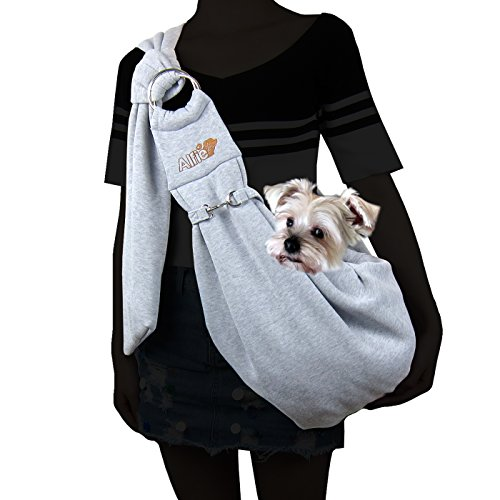 Alfie Pet - Chico 2.0 Revisible Pet Sling Carrier with Adjustable Strap - Color: Grey and Denim (Sling Style Pet Carrier)