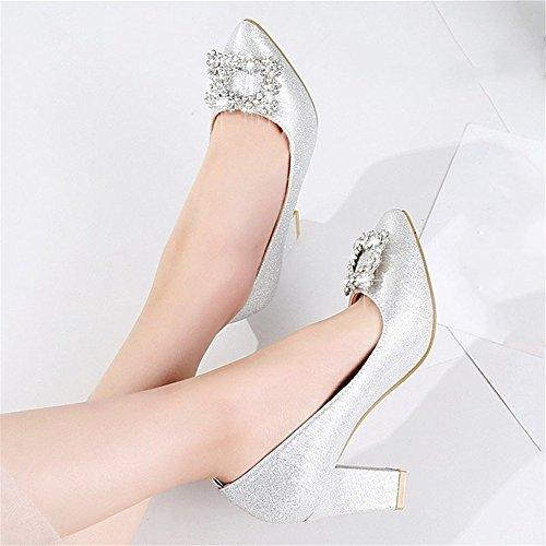 HXVU56546 La Saison De Printemps Et D'Automne Chaussures Pour Femmes Avec Des Chaussures Et Des Chaussures De Cristal Silver A JRXeVPQ