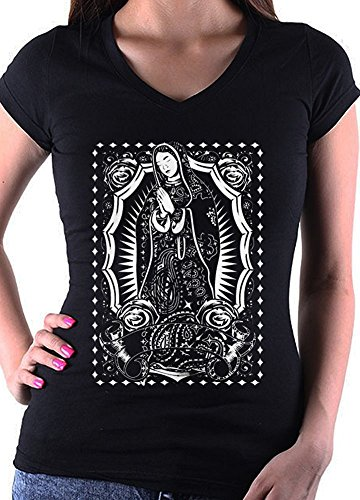 (Women's Virgin Mary Virgen de Guadalupe Tattoo ART Fitted Black V Neck T shirt (L - Large ))