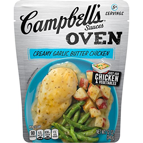 Campbell's Oven Sauces Creamy Garlic Butter Chicken, 12 oz. (Pack of 6)