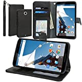 Evecase Nexus 6 Case, Leather Wallet Folio Case with Stand, Credit Card ID Slots, Currency Pocket, Hand Strap for Motorola / Google Nexus 6 - Black