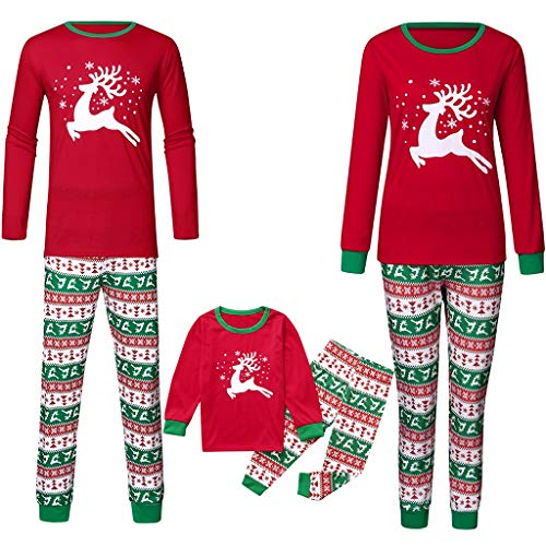Family Matching Christmas Pajamas Set,Crytech Comfy Soft Red Elk Letter Print Sleepshirt Top and Striped Lounge Pant Parent Children Kids Xmas Holiday Sleepwear Pjs Outfit Clothes (Small, Dad)