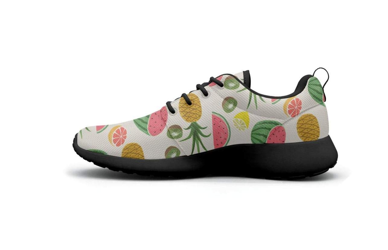 Vasionon Pineapple Watermelon Some Kiwi Fruit and Lots of Lemon Sports Running Shoes Casual Lightweight Athletic Sneakers Print Womens Custom