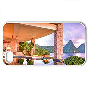 Beautiful Sunset - St Lucia Paradise Island Caribbean West Indies - Case Cover for iPhone 4 and 4s (Sunsets Series, Watercolor style, White)