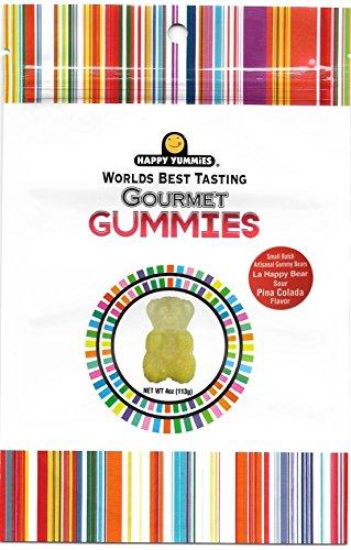 Happy Yummies Worlds Best Tasting Gourmet Gummies Small Batch Artisanal Sour Pina Colada Flavor Gummy Bears 4oz