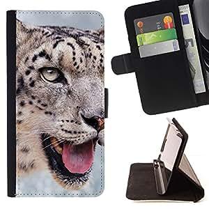 ForSamsung Galaxy S3 MINI i8190 (NOT S3) Case , Animal Snow Leopard Naturaleza del gato grande- la tarjeta de Crédito Slots PU Funda de cuero Monedero caso cubierta de piel