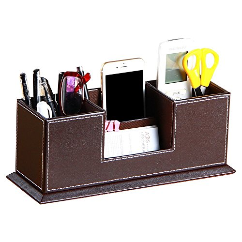 PU Leather 4 Compartment Desk Organizer Pen/Pencil/Business Cards/Mobile Phone/Remote Control Holder Office Supplies Accessories Collection Desktop Organizer Storage Box (Brown) (Desktop Collection)