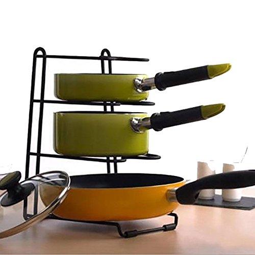 Rastrelliera multifunzione per pentole e padelle, organizer e supporto mensola portaoggetti da cucina Aandyou