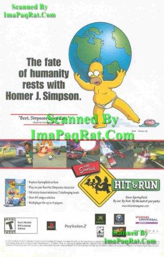 Simpsons: Hit & Run: Homer / Bart: Original Video Game Print Ad!