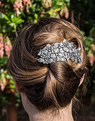 Dogwood Hair Clip - Hand Crafted Metal Barrette Made in the USA with a Large 80mm Imported French Clip By Oberon Design