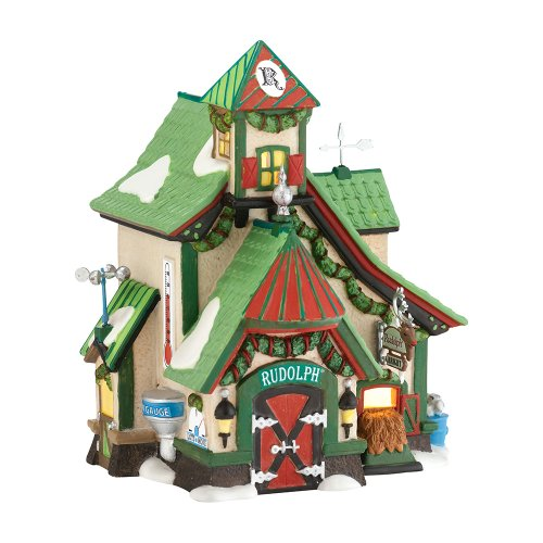 Department 56 North Pole Village Reindeer Stables Rudolph Lit House, 6.61 inch (56 North Pole Reindeer)