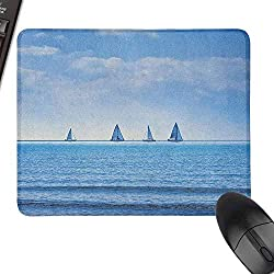 Custom Mouse Pad Nautical Racing Yachts on Ocean Water Regatta Race Panoramic Distant View Relax Win Photo Precisely Controllable,15.7x23.6, Pale Blue