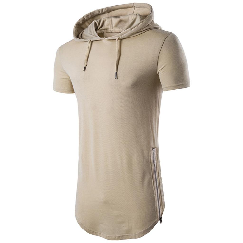 XUANOU Mens Hipster Summer Hip Hop Short Sleeve Longline Pullover Hoodied T-Shirt (Medium, Khaki)