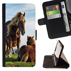 Dragon Case- Caja de la carpeta del caso en folio de cuero del tir¨®n de la cubierta protectora Shell FOR Samsung Galaxy S6 G9200- Horse Cute
