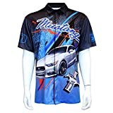 Ford Mustang Club Pit Shirt - Blue, Black, Grey, Orange - Button Up, 2XL