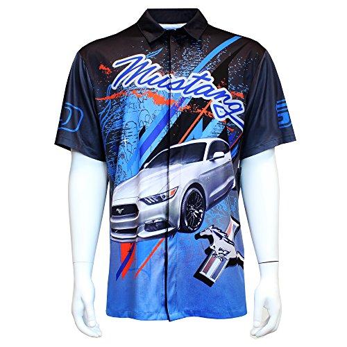 Ford Mustang Club Pit Shirt - Blue, Black, Grey, Orange - Button Up, XL