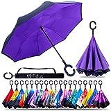 Fidus Double Layer Inverted Reverse Umbrella, Winproof Waterproof Folding UV Protection Self Stand Upsidedown Large Car Rain Golf Outdoor Rain Umbrella with C-Shaped Handle for Men Women(Purple)