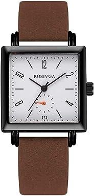 Womens Square Quartz Watches Classic Retro Rectangle Watches Temperament Simple Black Shell Quartz Belt Watch with Easy-Read