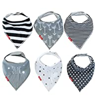 Drool Bibs (6 Pack) Unisex Baby Bandanas | Monochrome Design For Girl or Boy ...
