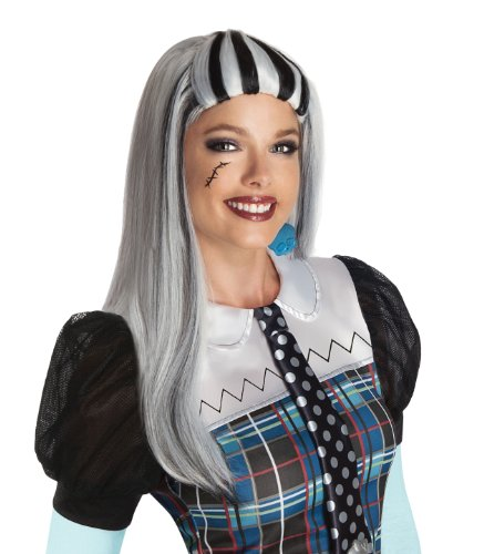 Monster High Costumes Adult (Monster High Frankie Stein Wig, Silver/Black, One Size)