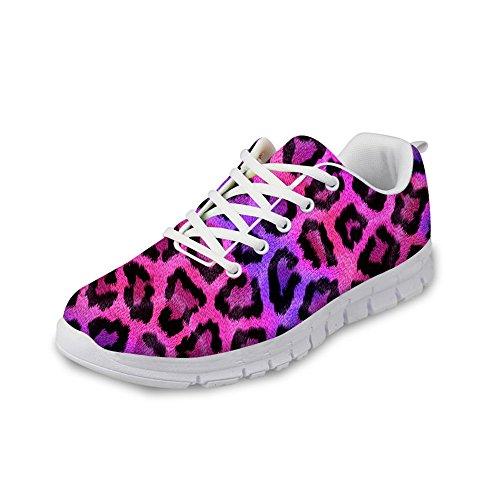 HUGS IDEA Animals Pattern Fashion Womens Lightweight Running Sneakers Pink Leopard EudZE0
