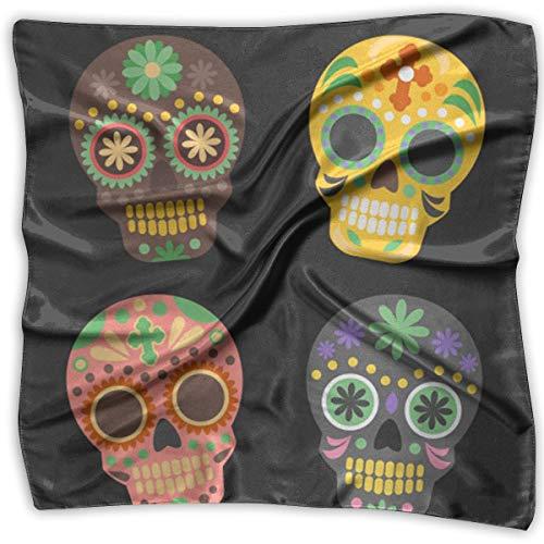 Field Rain Skull Women's Large Square Satin Headscarf Silk Like Neck Bandana Kerchief