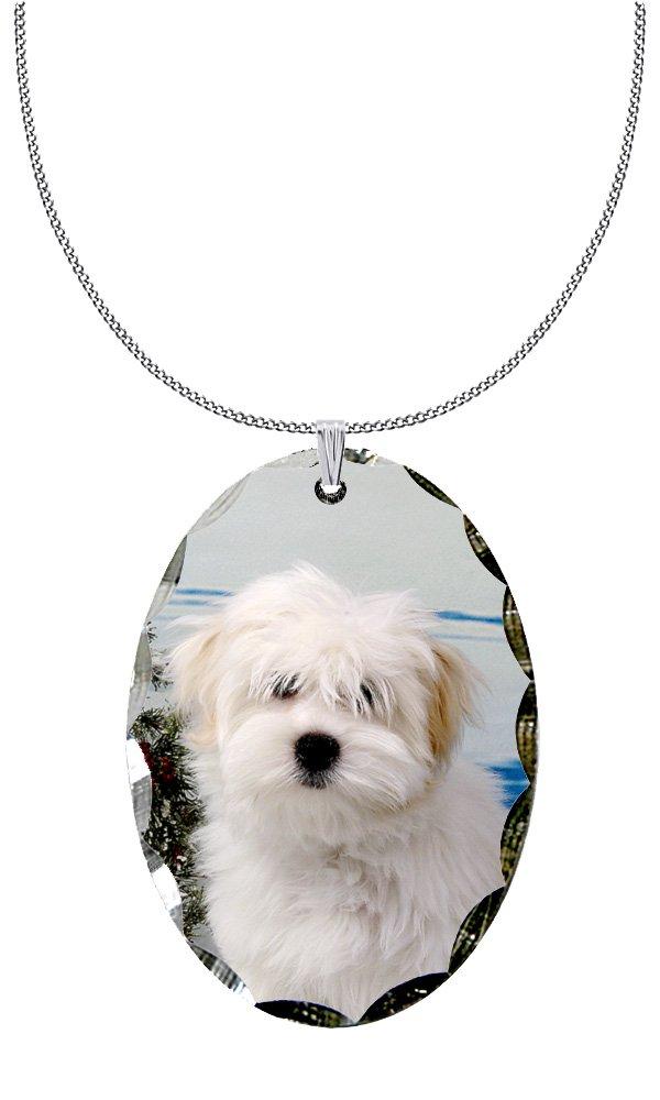 Canine Designs Coton du Tulear Scalloped Edge Oval Pendant
