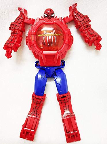 Spider Man Transformer Robot Toy Convert to Digital Wrist Watch for Kids Avengers Robot Deformation Watch Spider Man Figures Plus Watch