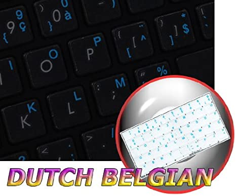 RED White OR Yellow Lettering Yellow 14X14 Orange Dutch Belgian Keyboard Decals ON Transparent Background with Blue