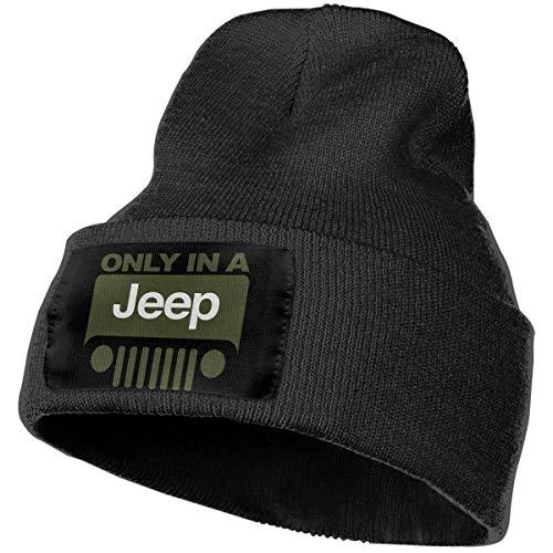 Only in Jeep Logo Men&Women Warm Winter Knit Plain Beanie Hat Skull Cap Acrylic Knit Cuff Hat ()