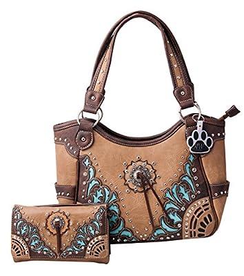 HW Collection Western Purse Flower Concho Fringe Tassel Concealed Carry Handbag and Wallet Set