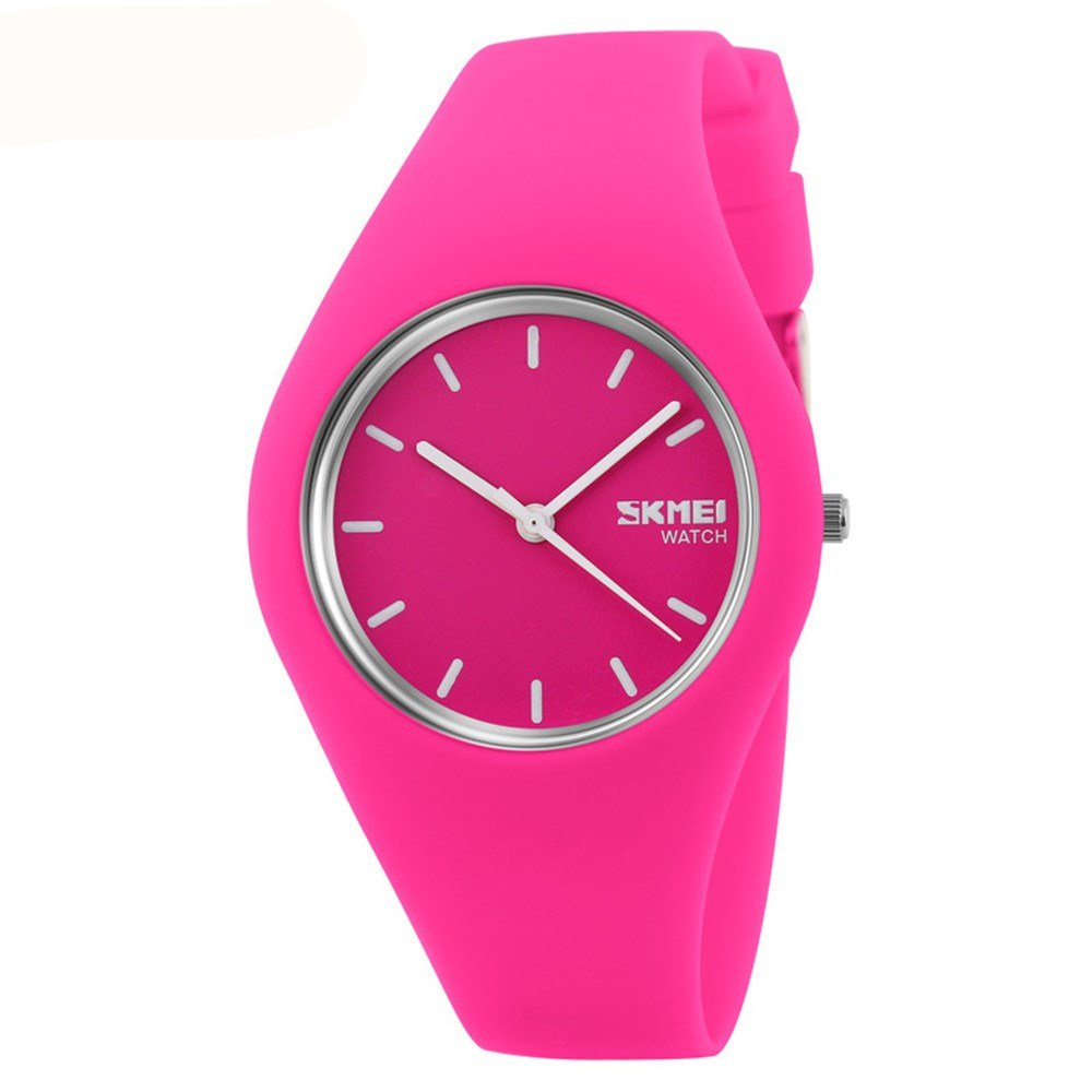 Skmei Fashion Trends Korean Version of The Silica Gel Quartz Ultra-Thin fine Gift Watches(12 Styles) (Rose red) by SKMEI (Image #1)