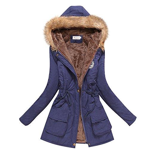 - Aro Lora Women's Winter Warm Faux Fur Hooded Cotton-Padded Coat Parka Long Jacket US 0 Navy