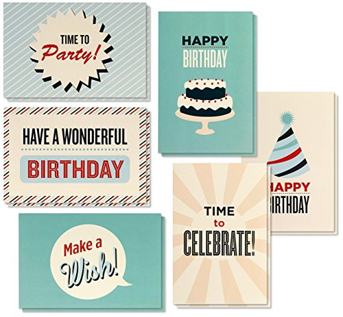 Birthday Card - 48-Pack Birthday Cards Box Set, Happy Birthday Cards - Retro Birthday Designs Birthday Card Bulk, Envelopes Included, 4 x 6 -