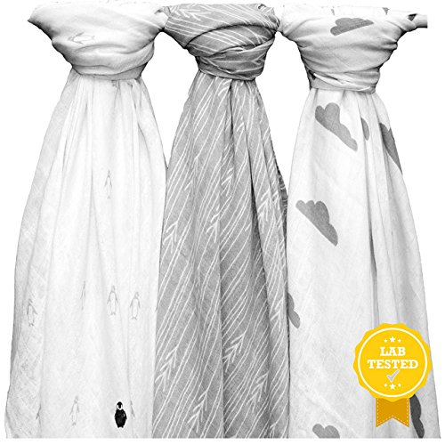 """3 Soft & Breathable Muslin Swaddle Blankets, Penguins/Arrows/Clouds, Unisex White & Grey Designs, 47""""x47"""", The Timeless Newborn Gift by Yelo Pomelo"""