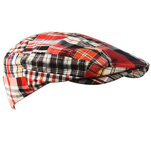 (SK Hat shop Men's Summer Preppy Tartan Plaid Front Snap Flat Golf IVY Driving Cap Hat)
