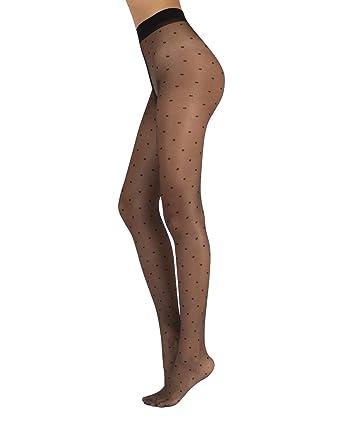 6ea91d2a76619 SMALL POLKA DOTS TIGHTS   BLACK SHEER SPOTTY TIGHTS   20 DEN   S/M, L/XL    ITALIAN HOSIERY   (S/M): Amazon.co.uk: Clothing