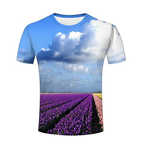 Garden Shirt Romantic (3D Printed colorful Flower Garden Scenes Couple Romantic Short Sleeve Tee Shirts M)