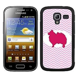 Funda carcasa para Samsung Galaxy Ace 2 diseño perro pomerania silueta estampado zigzag zig-zag borde negro