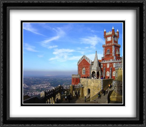 Sintra Series (Pena Palace, Sintra, Portugal 2x Matted 32x28 Large Black Ornate Framed Art Print by The Cityscape Art Print Series)