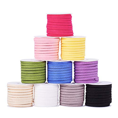 PandaHall Elite 10 Rolls 4mm Flat Micro Fiber Faux Leather Suede Cords Lace Velvet Beading String 5.5 Yard per Pack Jewelry Making 10 Colors