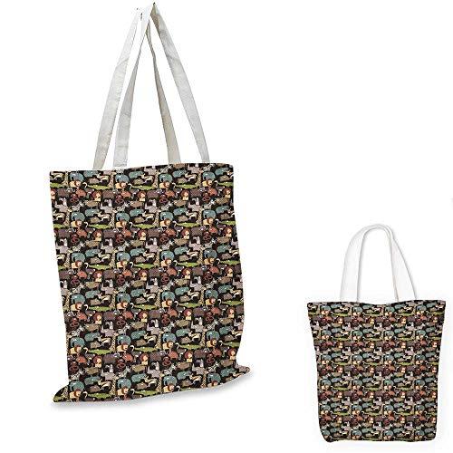 - Animal shopping bag storage pouch Cartoon Style Fauna of Savannah Giraffe Elephant Antelope Zebra Crocodile and Lion small tote shopping bag Multicolor. 12
