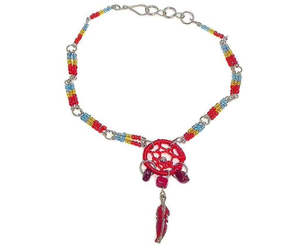 Mia Jewel Shop Dream Catcher Chip Stone Feather Charm Dangle Beaded Silver Chain Anklet Mia Jewel Inc. AK-030102