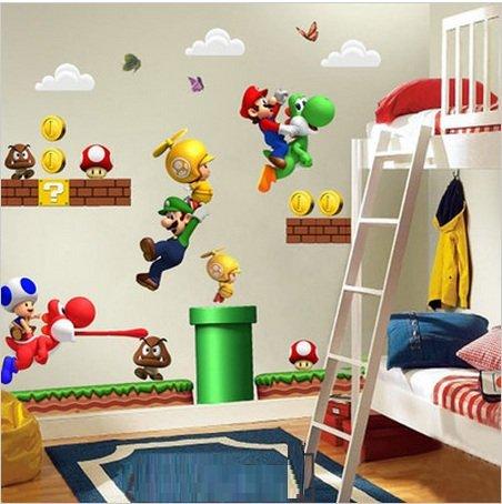 NUEVO Super Mario Bros Desmontable Pegatinas de pared Calcomanía Decoración para el hogar para niños