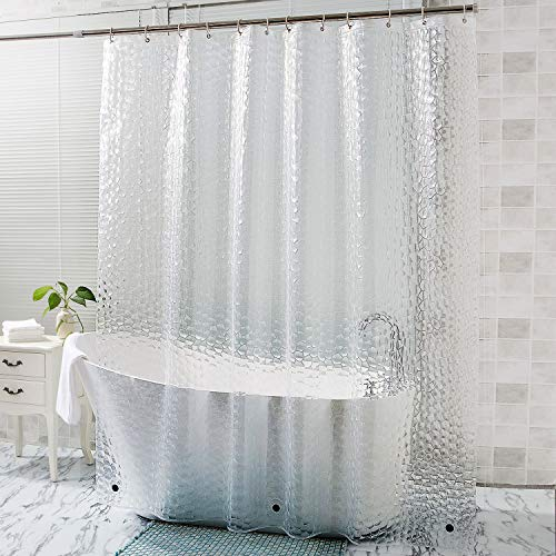(OTraki 72 x 96 inch Shower Curtain 3D Clear Extra Long EVA Bath Curtains Weightd Bottom with Magnets 12 Hooks Grommets Transparent Heavy Duty Shower Liner for Bathroom Bath Stall 180 x 240cm)
