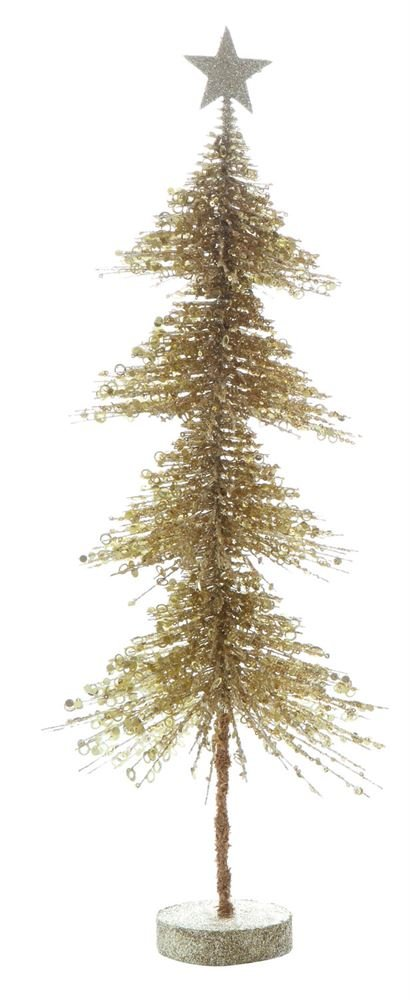 Heart of America Plastic Pine Tree With MDF Base Gold Glitter - 4 Pieces by Heart of America