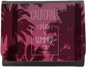 محفظة جلد بطبعة تمتع بالصيف ، مقاس 12cm X 10cm