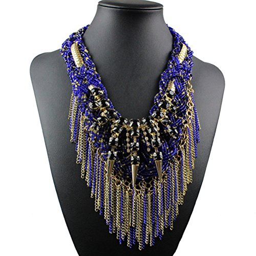 Tinksky Ethic Style Alloy Diamante Multilayer Tassel Necklace Choker Collette Christmas Gift for women (Blue)