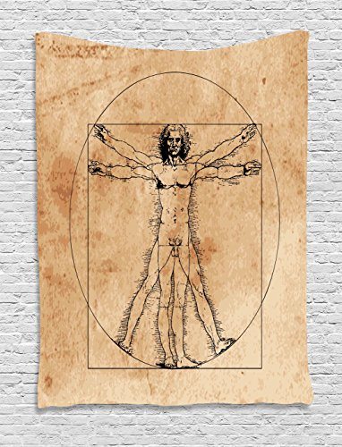 - Ambesonne Human Anatomy Tapestry, Medieval Vitruvian Man Crosshatching Famous Italian Painting Renaissance Body Art, Wall Hanging for Bedroom Living Room Dorm, 40 W x 60 L Inches, Sepia